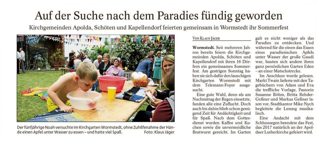 Gemeindefest Wormstedt 2016