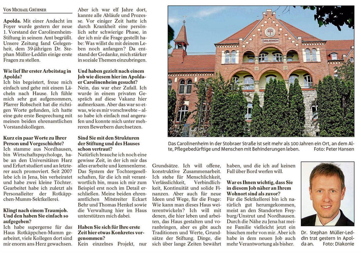 """Thüringer Allgemeine, Ausgabe Apolda, vom 2.11.2016; S. 14: """"Das Haus weiterentwickeln, aber die Tradition nicht vergessen"""""""